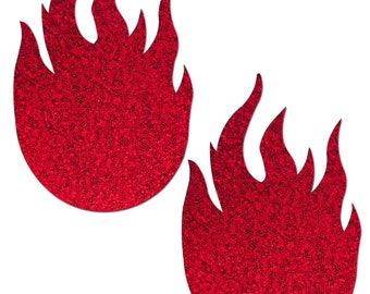 Pasties - Red Glitter Flames Nipple Pasties by Pastease® o/s