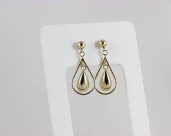 10k Yellow Gold Teardrop Earrings Dangle Drop Earrings