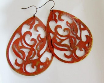 Large Patina Earrings, Terra Cotta, Moroccan, filigree Teardrop, Pumpkin, Bold Flower Design, Bohemian Style, Tribal, Redpeonycreations