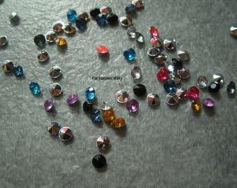 (STR3) Set of 100 rhinestone back point multicolor 3mm