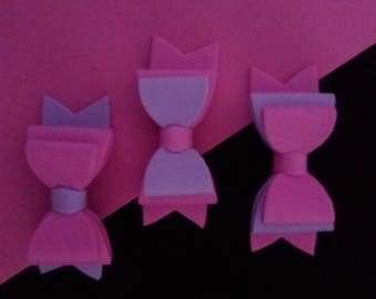 Set of 3 Pink and Purple Hair Bows