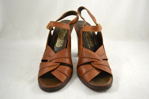 FOOTWORKS Boho Chunky Hippie Sandals vtg Size 7 70s Heel Shoes High Sandals Strappy Heel Slingback Festival 1970s Vintage F8twxq7x