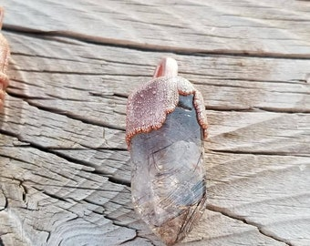 Rutilated Quartz copper electroformed pendant