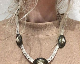 Leather Concho Southwestern Necklace