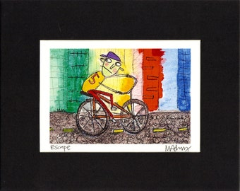 Escape - Art Print , naive, outsider, colorful,quirky bicycle, fine art illustration print by Murphy Adams