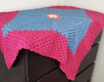 Blue, crimson, pink & orange crochet throw