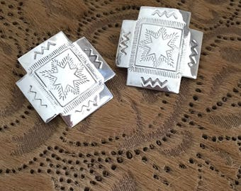 Southwest Style Sterling Silver Pierced Earrings