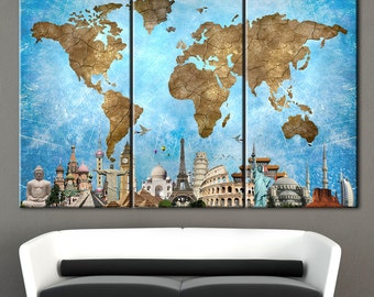 World Map, World Map Poster, Canvas map of the world, World Map Art Canvas, World map wall art, Large Canvas World map, Wall decor panels