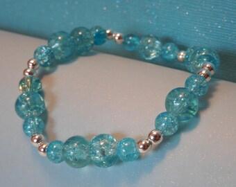 Aqua Blue Glass Beaded Stretch Bracelet