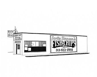 Scotty Simpson's Fish & Chips, Detroit Giclee Print 8x10