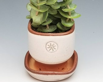 NEW Windowsill Planter, Handmade, White Ceramic Pot and Drain Dish, Succulant or Flower Pot