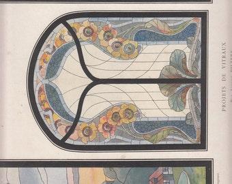 """Projets De Vitraux Art Nouveau Print Triptych ,1911 Le Journal de la Decoration,10.5"""" X 14"""""""