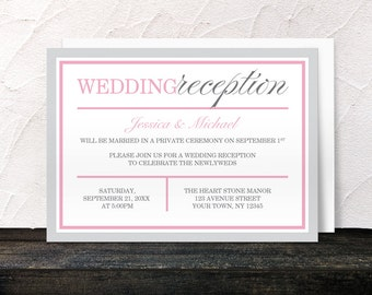 Gray Pink Reception Only Invitations - Modern design - Post-Wedding Reception - Printed Invitations