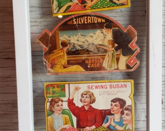 Vintage early 20th Century Collage of Needle Ephemera Including Sewing Susan and The Silvertown