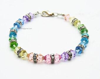 Rainbow bracelet;Rainbow;Beaded bracelet; Swarovski bracelet;Friendship bracelet;Crystal bracelet;Swarovski beads