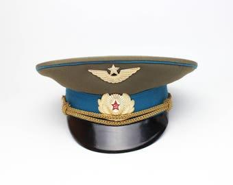 USSR Air Force Officer's aviation visor cap SOVIET military hat. 1980's 100% Original. Not new made.