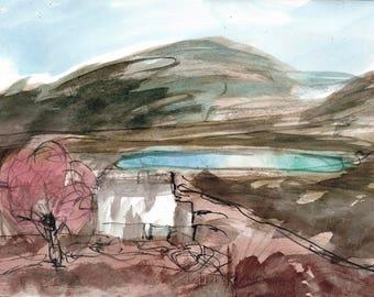 ROWAN TREE BOTHY - Landscape Watercolour - Isle of Skye - Fine Art - ElizabethAFox