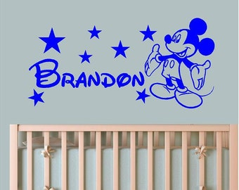Personalized Mickey Mouse Custom Name Wall Saying Vinyl Sticker Decal. Free Shipping!! Mirror Kids Room Decor, Kid Nursery, Door, Home.