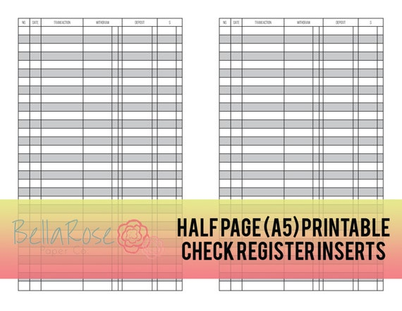 A Half Page Printable Check Register Inserts Budgeting