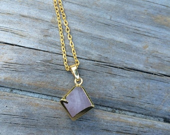 Pink Rose Quartz Raw Crystal Necklace, hexagon Necklace, Crystal Necklace, Hexagonal Crystal Necklace, Rose Quartz necklace