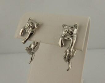 Vintage Pewter Kitty Cat 3D EARlusion earrings, kitten