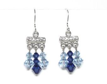 Sapphire blue crystal earrings, Swarovski crystal, sapphire earrings, blue earrings, spring earrings, dangle earrings, sterling silver