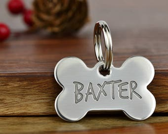 Gifts for Pet Lovers, Bone Pet ID Tag, Dog Tag, Bone Tag, Pet Accessories - Deep Engraved Pet Tags - Stainless Steel Pet Tag