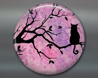 "3.5"" refrigerator magnet with black cat silhouette - housewarming gifts for cat lovers MA-604"