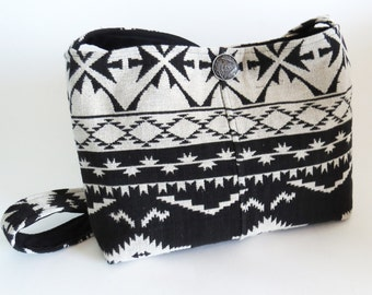 Reduced!  AZTEC BLACK & WHITE Cross Body Bag-Purse (Ooak) / Bohemian Ethnic from Upcycled Cotton Women's Jacket / Eco Friendly Gift