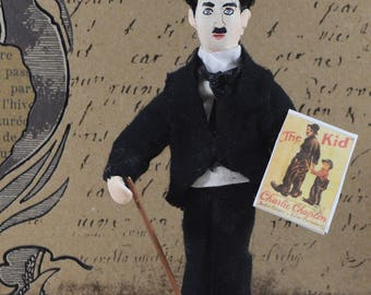 Charlie Chaplin Doll Silent Film Star And Comedian Miniature Art Collectible Figurine
