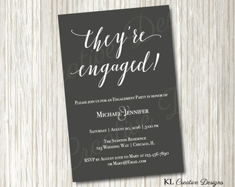 Modern Grey and White Engagement Party Printable Invitation, Printable Invitation, Wedding Printable, Digital File