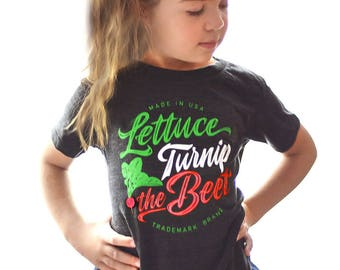 Lettuce turnip the beet ® trademark brand OFFICIAL SITE - grey heather t shirt with cursive logo - vegan, vegetarian, funny, dance, music