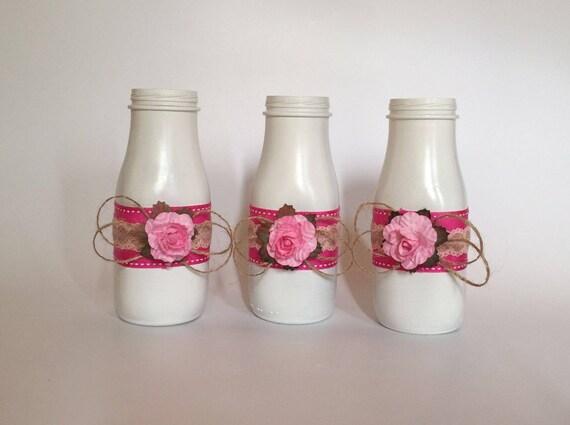 Three Decorated Small Milk Bottles Flower Vases Baby