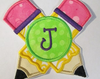 Crossed Pencils with Monogram - Iron On or Sew On Embroidered Applique