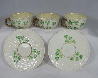 3 Vintage Belleek Porcelain Cups, 2 Saucers Shamrock-Basket Weave 1926-1946 3rd Mark