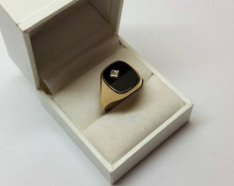 21.2 mm Ring Gold 333 Onyx Black with moissanite Noble vintage GR100