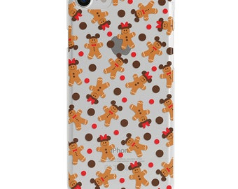 Gingerbread & Polka Dots Clear Disney Christmas iPhone Case