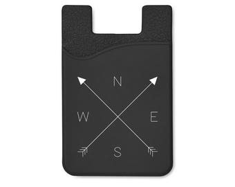 Compass Silicone Adhesive Card Holder Stick On Cell Phone Wallet