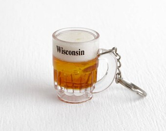 Vintage Beer Keychain Wisconsin Souvenir, Acrylic Stocking Stuffer for Men or Women