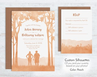 Custom Watercolor Style Wedding Invitations, Woodland Invites, Forest Outdoor Mountain Rustic Orange Peach Hiking Trees Woods Recycled