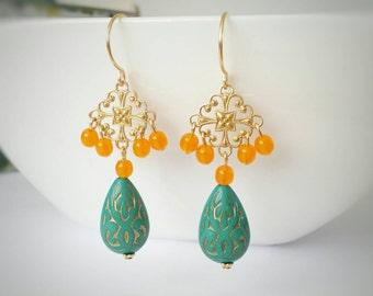 Long dangle earrings, long drop earrings, blue and orange earrings, long gold earrings, gold chandelier earrings, beaded earrings