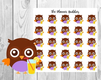Ollie the Owl, Planner Stickers, Owl Planner Stickers, Summer Themed Planner Stickers, Leamonade