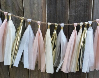 Baby pink and gold tassel garland, it's a girl, baby shower, wedding decor, first birthday, cake smash, party supplies,pink and gold garland