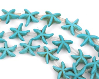 14mm Turquoise Blue STARFISH Beads, howlite beads, full strand, about 26 beads, how0474