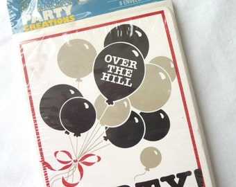 Over the Hill, Vintage Party Invitations, New in Package, Party Creations, Artfaire, Birthday Party, Black Gray Balloons, Scrapbooking,Party
