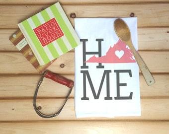 Virginia State Flour Sack Towel, Virginia State Tea Towel, Flour Sack Tea Towel, Housewarming Gift, Wedding Gift, Real Estate Gift, Map Art