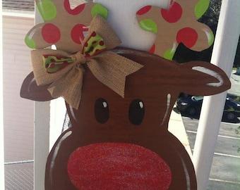 Whimsical Rudolph Red Nose Reindeer Door Hanger