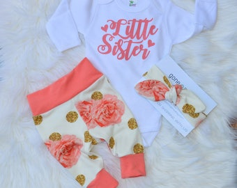 Little sister, hello world outfit, hello world newborn outfit, newborn outfit, girl take home outfit, girl coming home outfit, baby outfit
