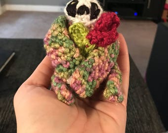 Crocheted Finger Sloth- Rosy