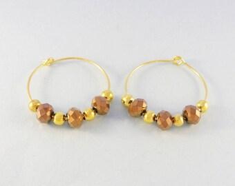 Chocolate brown crystal earrings - gold hoops - beaded hoop earrings - glass bead earrings